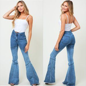 New! HOT!! Ombre Panel Flared Jeans
